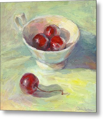 Cherries In A Cup On A Sunny Day Painting Metal Print by Svetlana Novikova