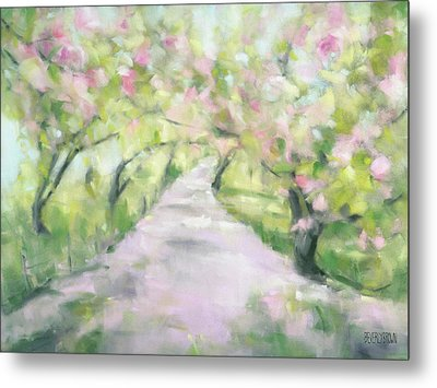 Cherry Blossom Bridle Path Central Park Metal Print