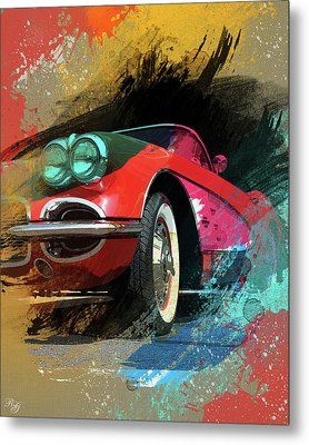 Chevy Corvette Digital Art Metal Print