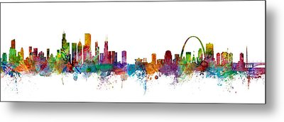 Chicago And St Louis Skyline Mashup Metal Print