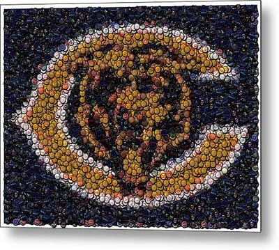 Chicago Bears Bottle Cap Mosaic Metal Print