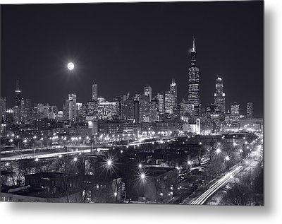Chicago By Night Metal Print by Steve Gadomski