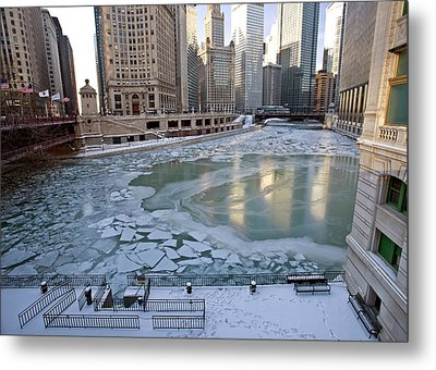 Chicago Downtown City  Night Photography Wrigley Square Metal Print