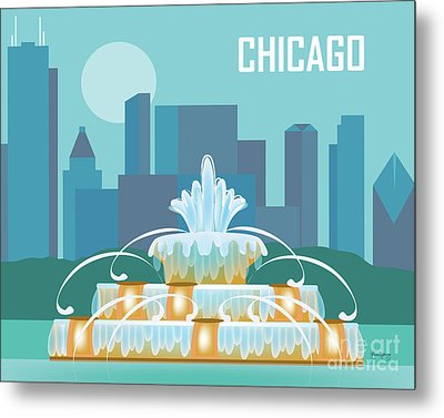 Chicago Illinois Horizontal Skyline - Buckingham Fountain Metal Print by Karen Young