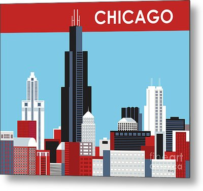 Chicago Illinois Horizontal Skyline Metal Print