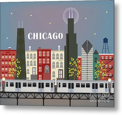 Chicago Illinois Horizontal Skyline - L Train Metal Print