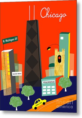 Chicago Illinois Vertical Skyline - Michigan Ave. Metal Print by Karen Young