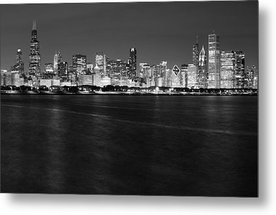 Chicago Night Skyline In Black And White Metal Print