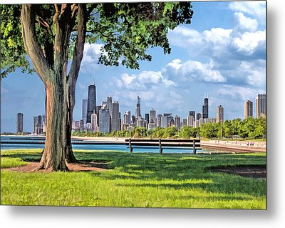 Metal Print featuring the painting Chicago North Skyline Park by Christopher Arndt