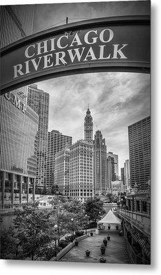 Chicago River Walk Black And White Metal Print by Melanie Viola