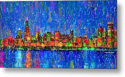 Chicago Skyline 200 - Pa Metal Print by Leonardo Digenio