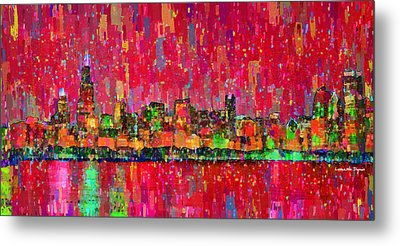 Chicago Skyline 203 - Da Metal Print by Leonardo Digenio
