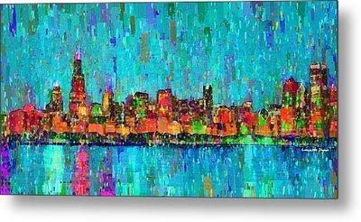 Chicago Skyline 207 - Pa Metal Print by Leonardo Digenio