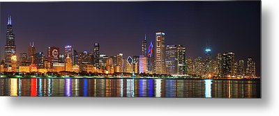 Chicago Skyline With Cubs World Series Lights Night, Chicago, Cook County, Illinois,  Metal Print by Panoramic Images