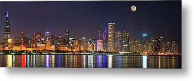 Chicago Skyline With Cubs World Series Lights Night, Moonrise, Chicago, Cook County, Illinois, Usa Metal Print