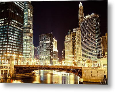 Chicago State Street Bridge At Night Metal Print by Paul Velgos