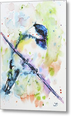 Metal Print featuring the painting Chick-a-dee-dee-dee by Zaira Dzhaubaeva
