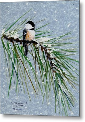 Chickadee Set 8 - Bird 1 - Snow Chickadees Metal Print by Kathleen McDermott