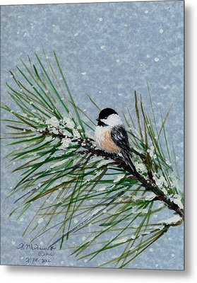 Chickadee Set 8 - Bird 2 - Snow Chickadees Metal Print