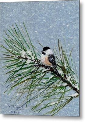 Chickadee Set 8 - Bird 2 - Snow Chickadees Metal Print by Kathleen McDermott