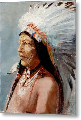 Chief Flying Eagle Of The Blackfoot Tribe Metal Print by Lewis A Ramsey