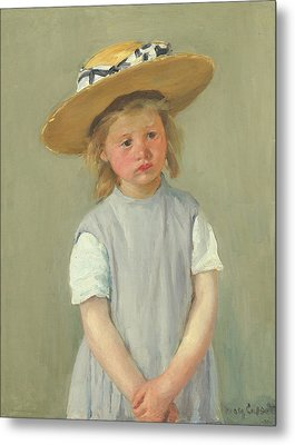 Metal Print featuring the painting Child In A Straw Hat By Mary Cassatt 1886 by Movie Poster Prints