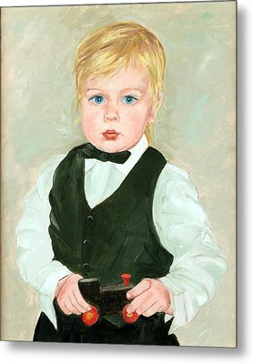 Child With A Toy Metal Print by Ethel Vrana