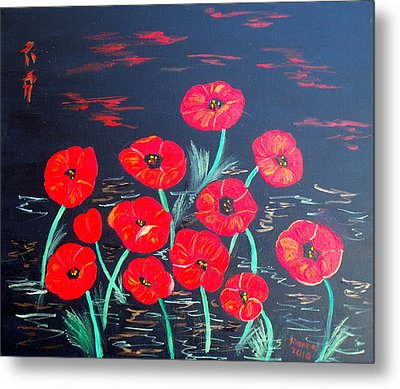 Childlike Poppies Metal Print by Alanna Hug-McAnnally