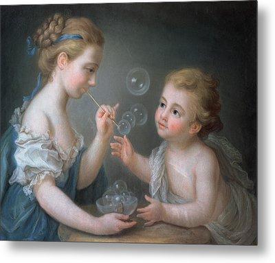 Children Blowing Bubbles Metal Print by Jean-Etienne Liotard