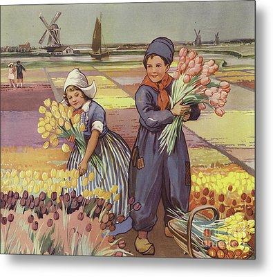 Children Picking Tulips In Holland Metal Print