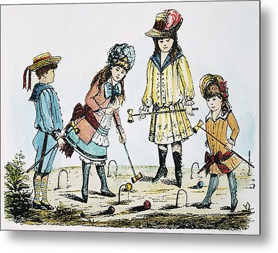 Children Playing Croquet Metal Print by Granger