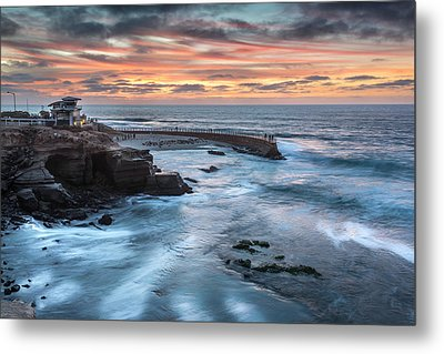Childrens Pool Fall Sunset Metal Print