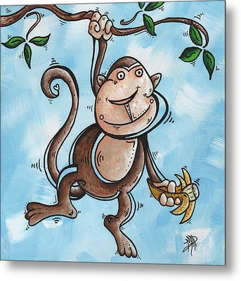 Childrens Whimsical Nursery Art Original Monkey Painting Monkey Buttons By Madart Metal Print