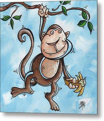 Childrens Whimsical Nursery Art Original Monkey Painting Monkey Buttons By Madart Metal Print by Megan Duncanson