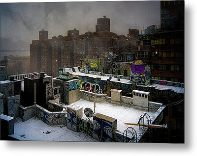 Metal Print featuring the photograph Chinatown Rooftops In Winter by Chris Lord