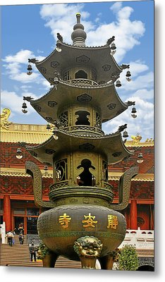Chinese Ancient Relics - Bronze Cauldron Jing'an Temple Shanghai Metal Print by Christine Till