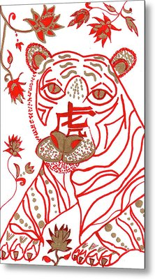 Metal Print featuring the drawing Chinese New Year Astrology Tiger by Barbara Giordano