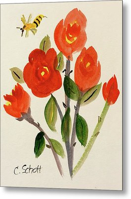 Chinese Red Rose With Bee Metal Print