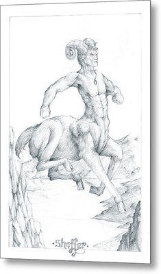 Metal Print featuring the drawing Chiron The Centaur by Curtiss Shaffer