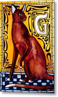 Metal Print featuring the painting Chocolate Delight - Havana Brown Cat - Cat Art By Dora Hathazi Mendes by Dora Hathazi Mendes