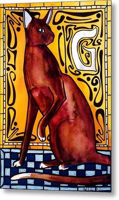 Chocolate Delight - Havana Brown Cat - Cat Art By Dora Hathazi Mendes Metal Print by Dora Hathazi Mendes