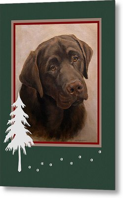 Chocolate Labrador Portrait Christmas Metal Print