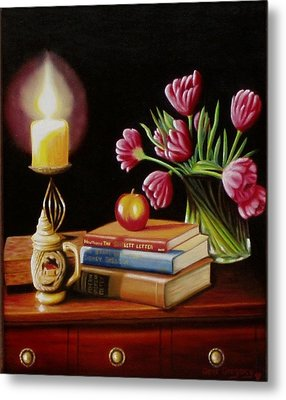 Metal Print featuring the painting Chrisie's Table by Gene Gregory