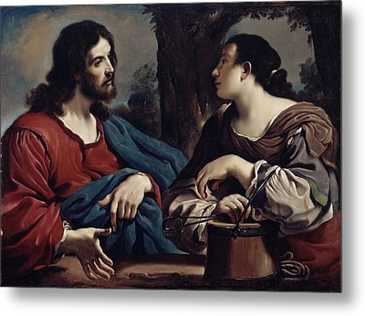 Christ And The Woman Of Samaria Metal Print by Giovanni Francesco Barbieri Guercino