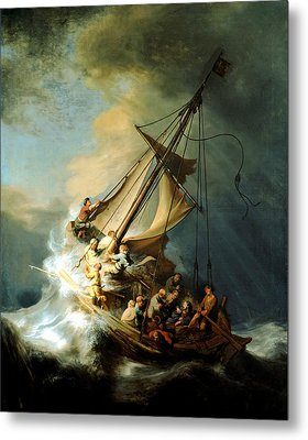 Christ In The Storm Metal Print by Rembrandt