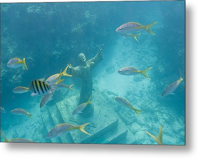 Christ Of The Deep Statue In A Coral Metal Print by Mike Theiss