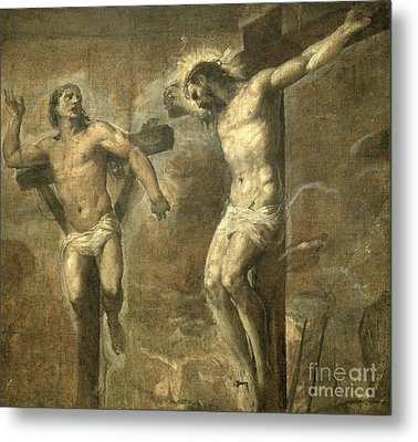 Christ On The Cross And The Good Thief Metal Print by Titian
