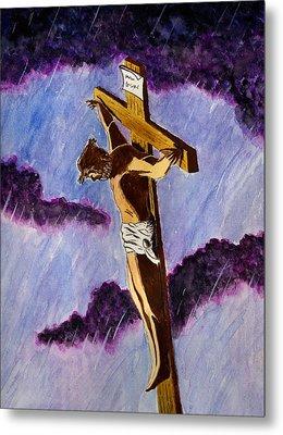 Christ On The Cross Metal Print by Michael Vigliotti