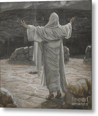 Christ Retreats To The Mountain At Night Metal Print by Tissot