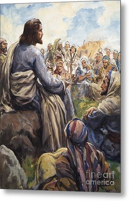 Christ Teaching Metal Print by English School